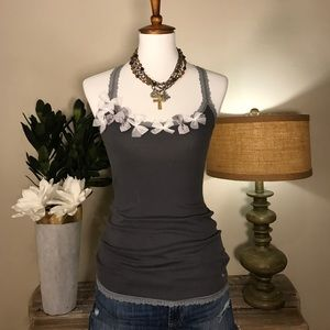 Abercrombie and Fitch gray embellished tank SZ L